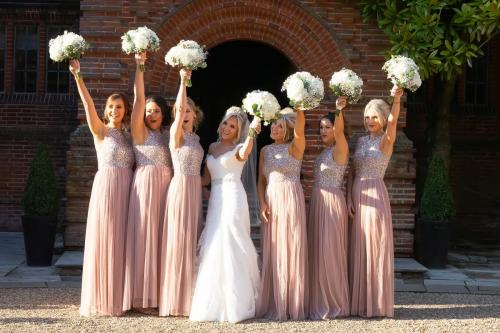 Bridesmaids outside New Place Hotel